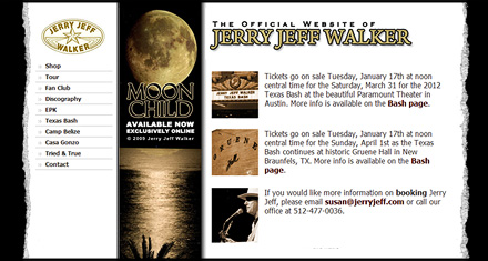 Jerry Jeff Walker Website Designed by N.A.I. Multimedia Austin TX
