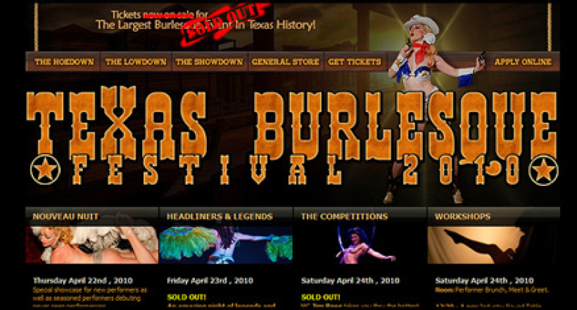 Texas Burlesque Festival Website Design by N.A.I. Multimedia Studios, Austin TX