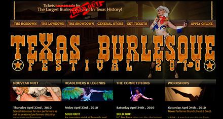Texas Burlesque Festival Website Design by N.A.I. Multimedia Studios, Austin TX
