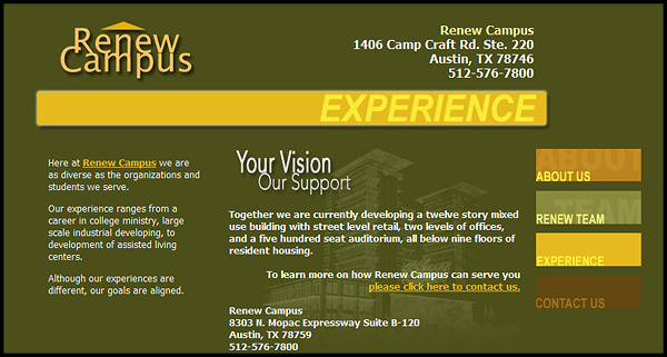 Renew Campus Website Design by N.A.I. Multimedia Studios Austin Texas