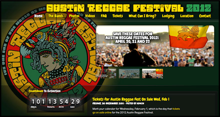 Austin Reggae Festival Custom Website Designed by N.A.I. Multimedia Studios, Austin TX