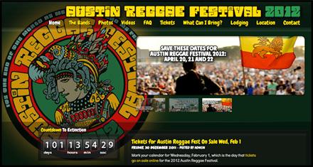 Austin Reggae Festival Custom Website Designed by N.A.I. Multimedia Studios, Austin TX