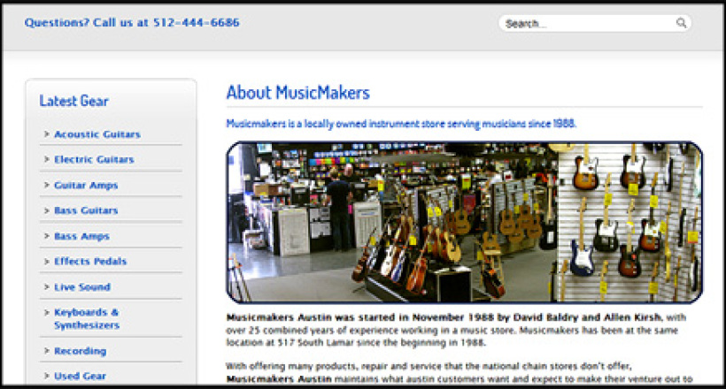MusicMakers Music Store Custom Website Designed by N.A.I. Multimedia Studiios, Austin TX