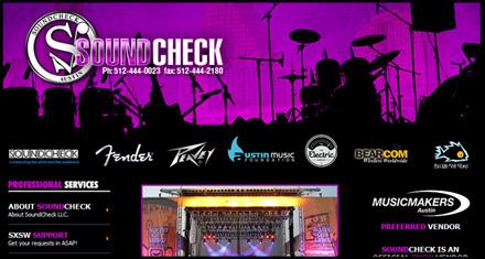 Soundcheck Austin Custom Website Designed by N.A.I. Multimedia Studios, Austin TX