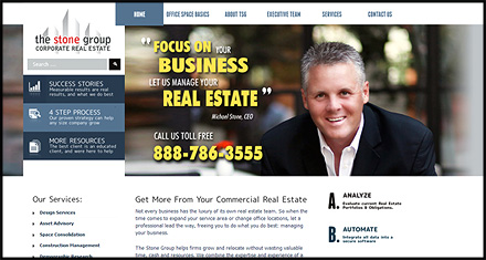 The Stone Group Corporate Real Estate Services, Custom Website Design by N.A.I. Multimedia Studios, Austin TX