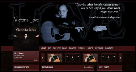 Victoria Love Music, Custom Website Design by N.A.I. Multimedia Studios, Austin TX