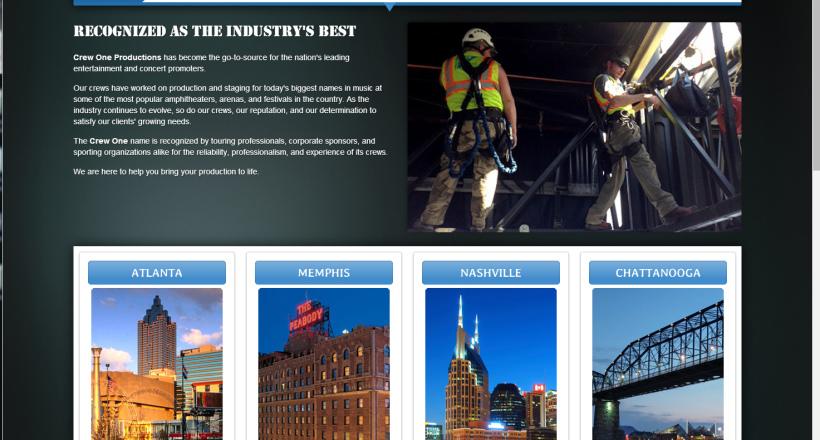Crew One website designed by N.A.I. Multimedia Studios, Austin TX USA