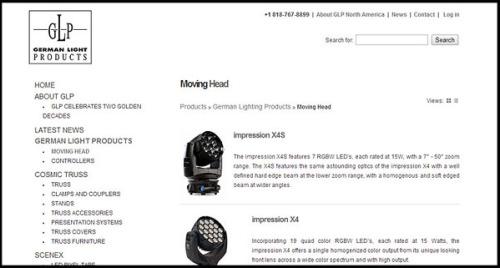 German Light Products website design by N.A.I. Multimedia Studios Austin Texas USA